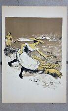 """Lithographie """" La Bergère """" de Jean Veber - 1898"""