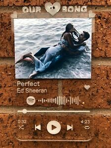 Personalised Song Track Plaque Scannable Via Spotify App With Your Choice Photo