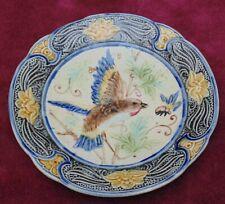 authentique superbe ancienne assiette décor oiseaux barbotine onnaing? Wasmuël.
