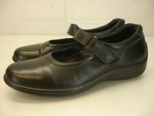 Women's 6 6.5 37 Ecco Aquet Black Leather Mary Jane Shoes Comfort Loafer Slip-On