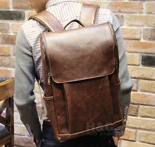 Men's Vintage Travel PU Leather Shoulder School Bag Laptop Backpack Rucksack New