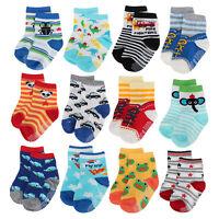 12 Pairs Baby Toddler Socks Anti-Slip Non-Skid with Grips Unisex 2T & 3T Walker