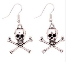 Pair Silver Tone Scull And Cross Bones Stud Earrings Ear Rings Pirate Skull ER31