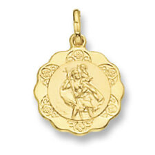 St. Christopher Pendant Yellow Gold Saint Christopher Scallop Edge 17mm