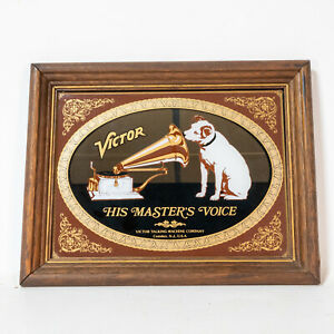 Vtg VICTOR His Master's Voice Mirror Sign Victor Talking Machine Co Nipper Dog
