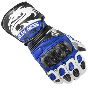 Arlen Ness Monza Motorbike Leather Gloves Motorcycle Leather Gloves - BLUE/BLACK