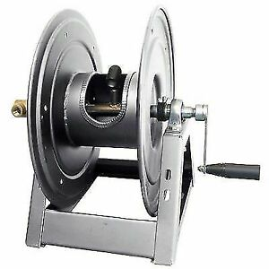 "General Pump DHRA50150 3/8"""" x 150' Charcoal Grey Steel Hose Reel with Flat"