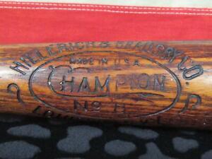 "Vintage 1910s Hillerich & Bradsby 'Champion' Wood Baseball Bat No.8 Antique 33"""