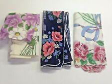 Vintage Ladies Hankies Handkerchiefs Floral Print Lot of 3