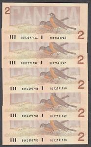 1986 #BC-55b BANK OF CANADA BIRD SERIES $2.00 5 CONSECUTIVE BANK NOTES BUK UNC+
