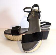 Cole Haan Women's Arden Platform Black Nubuck/Patent Leather Wedge Sandals 9.5B