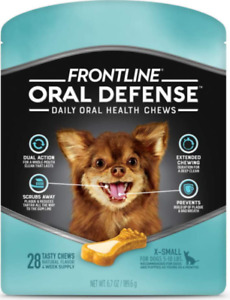 2 Bags Frontline Oral Defense Daily Oral Health Chews For XSmall Dogs - BB 10/20