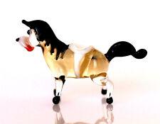 """Tiny Blown Glass Horse Figurine, """"Murano"""" Art Handmade Animal Miniature"""