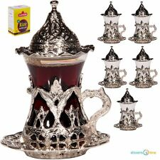 SALE SET 6 Handmade Turkish Tea Water Zamzam Serving Set Glasses Saucer (Silver)