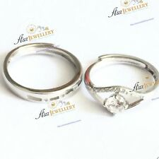2pc Real 925 Sterling Silver CZ Adjustable (Size 5-9) Couple Wedding Rings