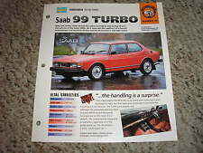 Sweden 1978-1980 Saab 99 Turbo Hot Cars Group 1 # 40 Spec Sheet Brochure