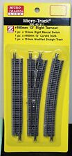 Z Scale - MICRO-TRAINS MTL 990 40 911 Right Hand 13 Deg Manual Turnout Track Set