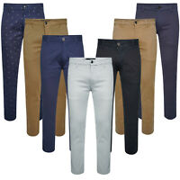 Men Chino Jeans Regular Fit Stretch Cotton Rich Twill Trousers Work Pants Size