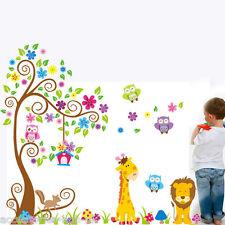 Animal Wall Stickers Jungle Zoo Safari Tree Nursery Baby Kids Bedroom Decors Art