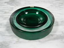 MID CENTURY MODERN MURANO CASED ART GLASS INCISO BOWL GREEN VISTOSI OR BARBINI
