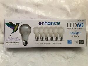 8.8 W / 60 Watt LED DAYLIGHT Light Bulb 6 Pack Dimmable Feit Electric 5000K New