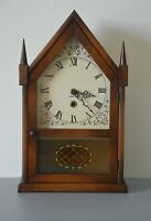 Vintage Pine Wood Miniature Working Steeple Clock 8-Day + Key ~Three Mountaineer