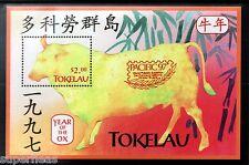 SUPERFLEAS Tokelau 1997 China Year of Ox gold overprint Hong Kong 97 S/S Zodiac