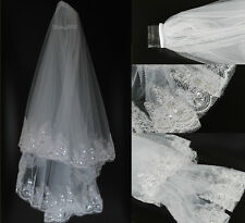 New 2T White Elbow Beaded Sequins Edge Bridal Wedding Bride Veil With Comb