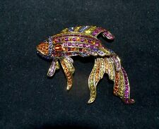 "New $140 HEIDI DAUS ""Little Fish, Big Style"" Brooch Pin SWAROVSKI Crystals Sea"