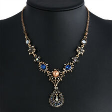 Fashion Women Jewelry Chain Pendant Crystal Choker Chunky Bib Statement Necklace