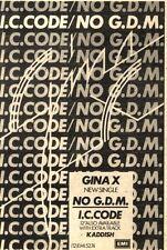 "20/2/82pgn06 Advert: Gina X New Single No G.d.m./i.c.code 7""x5"""