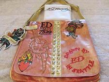 Ed Hardy Christian Audigier Gold Orange Mouche Graphic Messenger Handbag NWT