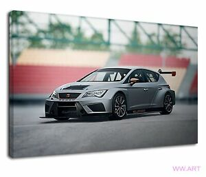 Seat leon cupra in sports mode on the street Canvas Wall Art Picture Print