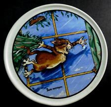 Gary Patterson Crazy Cat Lady CAT SWINGING ON THE CURTAINS Hvy Ceramic Coaster