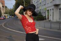 rot Spitzentop Spitze Damen Oberteil Bustier 90er TrueVINTAGE 90s red lace top