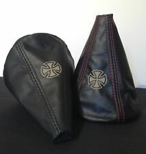 VW Golf MK2 and MK3 Leather Gearstick Gaiter with Laser Etched Iron Cross
