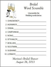 24 Personalized WORD SCRAMBLE Bridal Shower Game