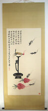 Chinese 100% Hand painting scroll about Mouses Candle By Qi Baishi 齐白石 老鼠萝卜灯台