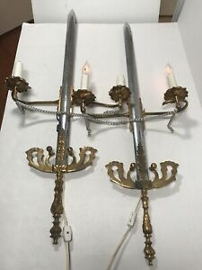 Pair of Vintage Silver & Gold Iron Brass Sword Electric Candle Wall Sconces