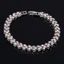 Women Crystal Pink Sapphire White Gold Plated Tennis Bracelet Mother's Gift