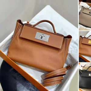 Small Real Leather Trapezoid Turn-Lock Flap Tote Bag Shoulder Purse Crossbody