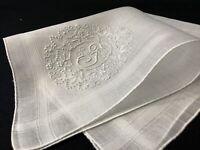 "#6352🌟Vintage Madeira Monogram ""F"" Wedding Linen Handkerchief Heirloom"