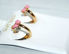 14k yellow gold enamel pink butterfly huggie earrings for baby and children's