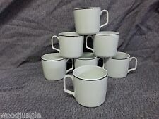 7 Georges Boyer Limoges France Black Ring Coffee Cups Mugs Porcelaine