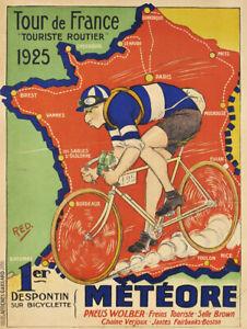 A3 A4 Size - Tour de France 1925 Vintage old cycling Sports Vintage Poster