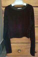 Womens winter black velour crop top ... Supre size XS (6)/ Girls 12