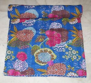 Indian Floral Print Kantha Quilt Bedspread Bedding Throw Queen Cotton Blanket