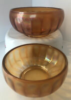 "Imperial Carnival Glass Amber Bowl Set (6"" & 5"") - Must See! Excellent Condition"