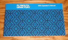1975 Plymouth Gran Fury Owners Operators Manual 75