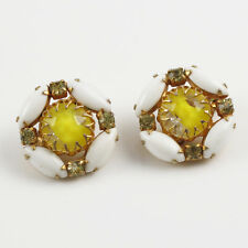 Vintage 1950s clip on Earrings white yellow poured glass cabochon rhinestone
